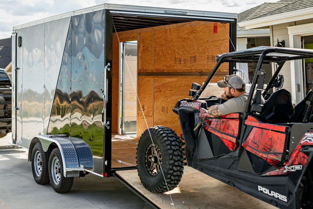 UTV loaded onto xplorer trailer